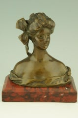 Art Nouveau Bronze Bust By Georges Van Der Straeten, France. image 5