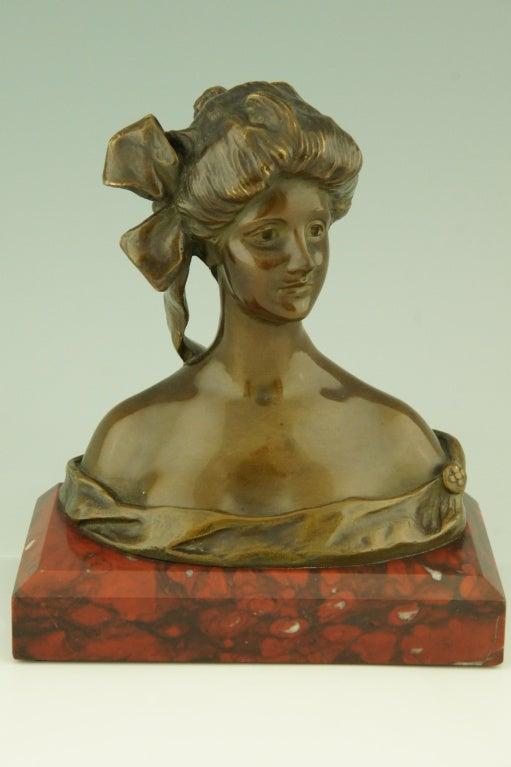 Art Nouveau Bronze Bust By Georges Van Der Straeten, France. 5