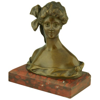 Art Nouveau Bronze Bust By Georges Van Der Straeten, France.