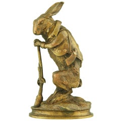 Antique Bronze of a Hare Dressed as Hunter By A. Arson