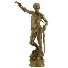 Antique bronze David after the combat by Antonin Mercié.