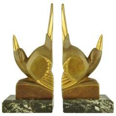 Pair of Art Deco Bronze Bird Bookends by G.H. Laurent