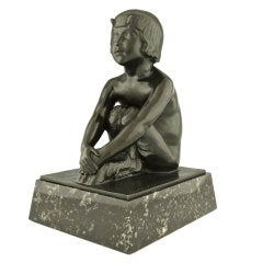 Art Deco Sculpture of a Sitting Female Satyr by Paul Silvestre