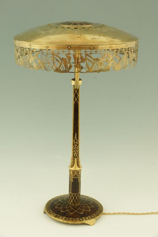 Art Nouveau Table Lamp With Butterflies By Erhard And