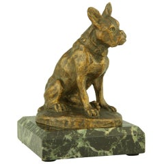 Antique Bronze Sculpture of a French Bulldog by A. Laplanche