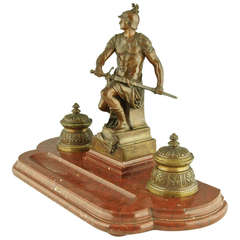 French Bronze sculptural Inkwell with classical soldier by Picault 1896.