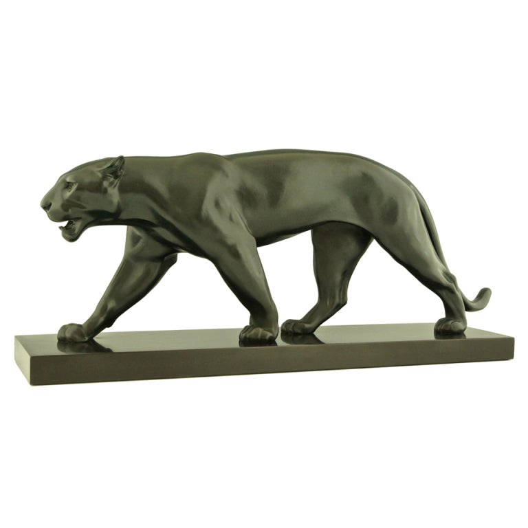 art deco sculpture of walking panther by max le verrier at 1stdibs. Black Bedroom Furniture Sets. Home Design Ideas