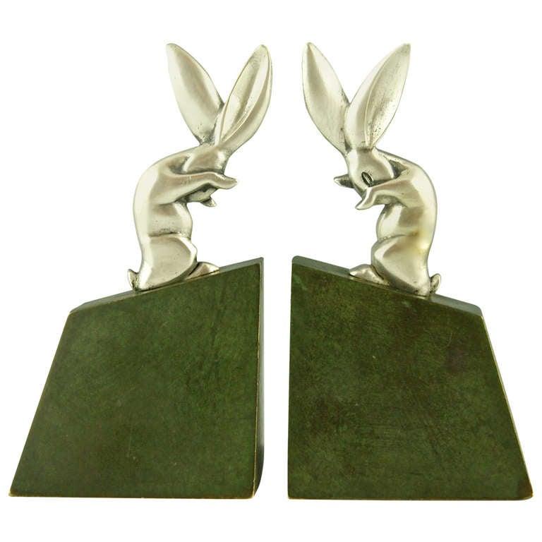 Pair of Art Deco Bronze Rabbit or Hare Bookends by Henri Rischmann, 1925