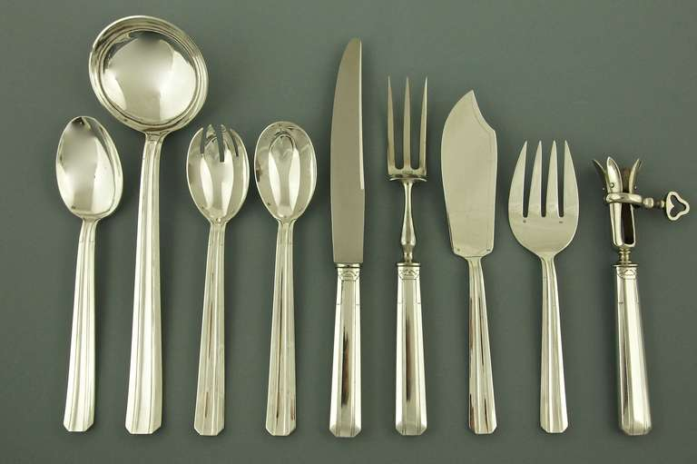 Extensive Art Deco 116 Piece Silver Plated Cutlery Set by Perrin France 1937 For Sale & Extensive Art Deco 116 Piece Silver Plated Cutlery Set by Perrin ...