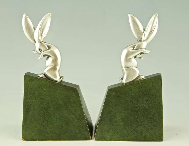 20th Century Pair of Art Deco Bronze Rabbit or Hare Bookends by Henri Rischmann, 1925