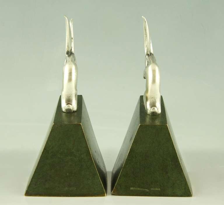 Pair of Art Deco Bronze Rabbit or Hare Bookends by Henri Rischmann, 1925 1