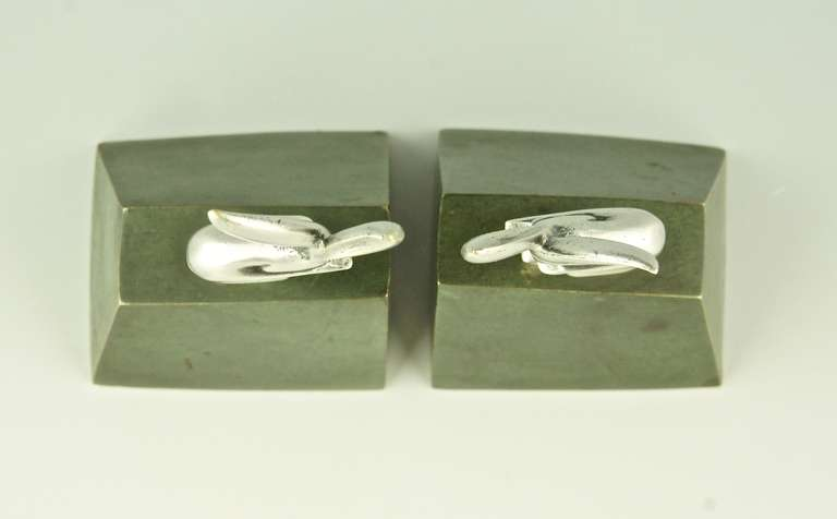 Pair of Art Deco Bronze Rabbit or Hare Bookends by Henri Rischmann, 1925 2