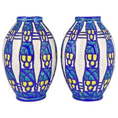 Pair of Art Deco vases by Charles Catteau for Boch Freres, Belgium 1925