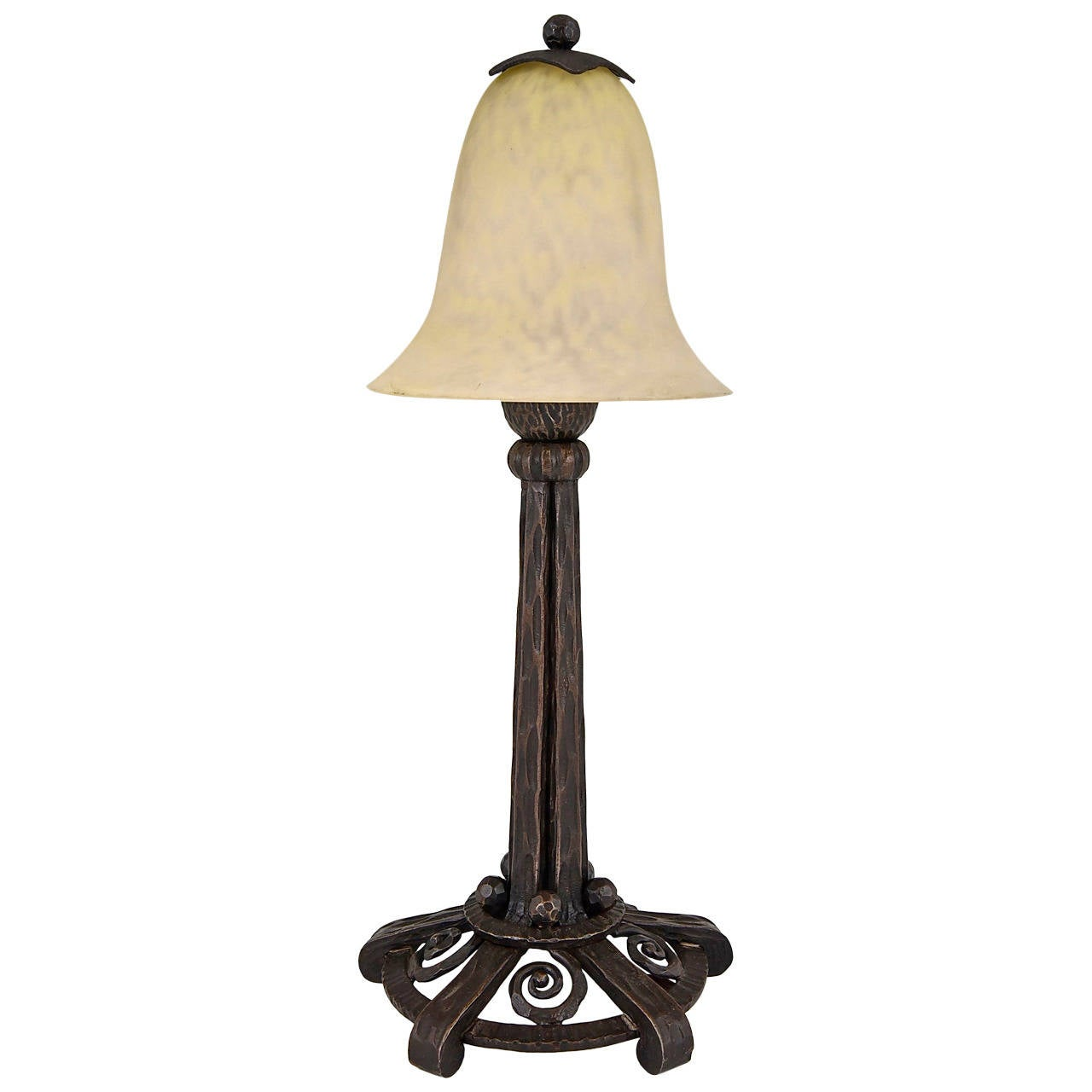 french art deco wrought iron and glass table lamp by. Black Bedroom Furniture Sets. Home Design Ideas