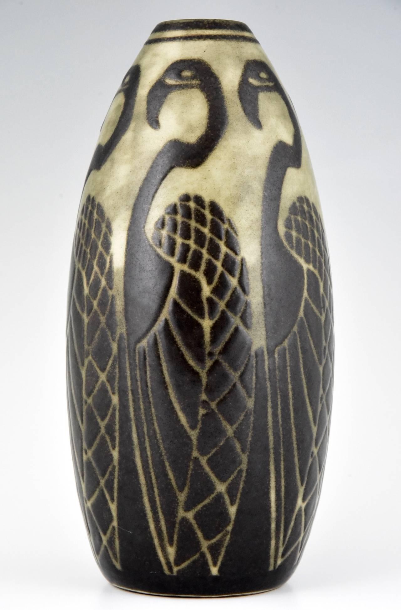 art deco flamingo vase by charles catteau keramis belgium 1924 at 1stdibs. Black Bedroom Furniture Sets. Home Design Ideas