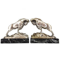 French Art Deco Bronze Ibex or Ram Sculpture Bookends by C. Charles, 1930