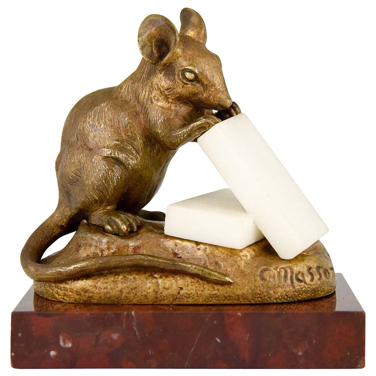 Antique Bronze Sculpture of a Mouse with Cheese by Clovis Masson 1880