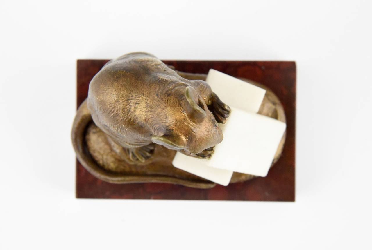19th Century Antique Bronze Sculpture of a Mouse with Cheese by Clovis Masson 1880