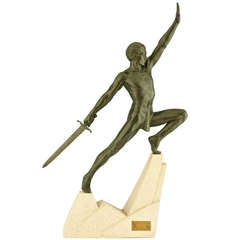 Art Deco Sculpture of a Sword Fighter on a Rock by Max Le Verrier