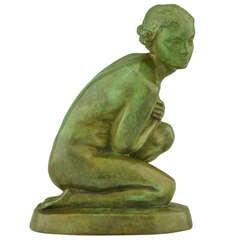 Art Deco Bronze of a Kneeling Nude by Lucien Alliot