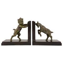 French Art Deco Sculpture Bookends Satyr and Goat by Carlier, 1930