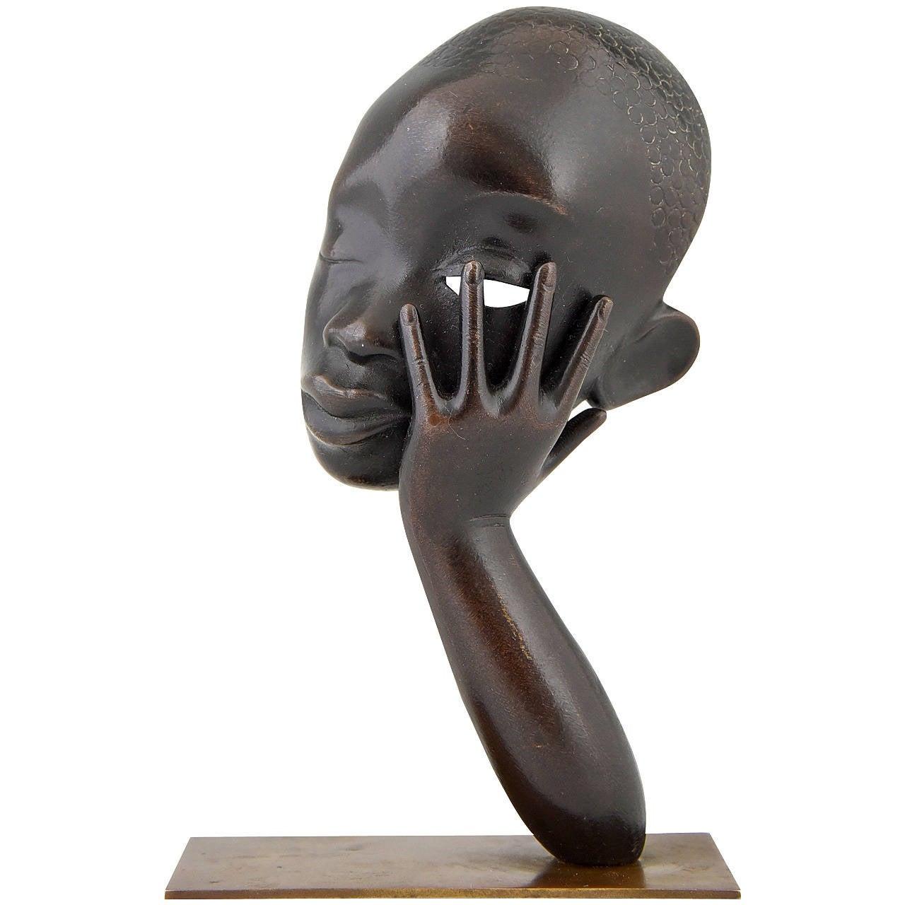 Bronze Head of an African Woman by Hagenauer, Vienna