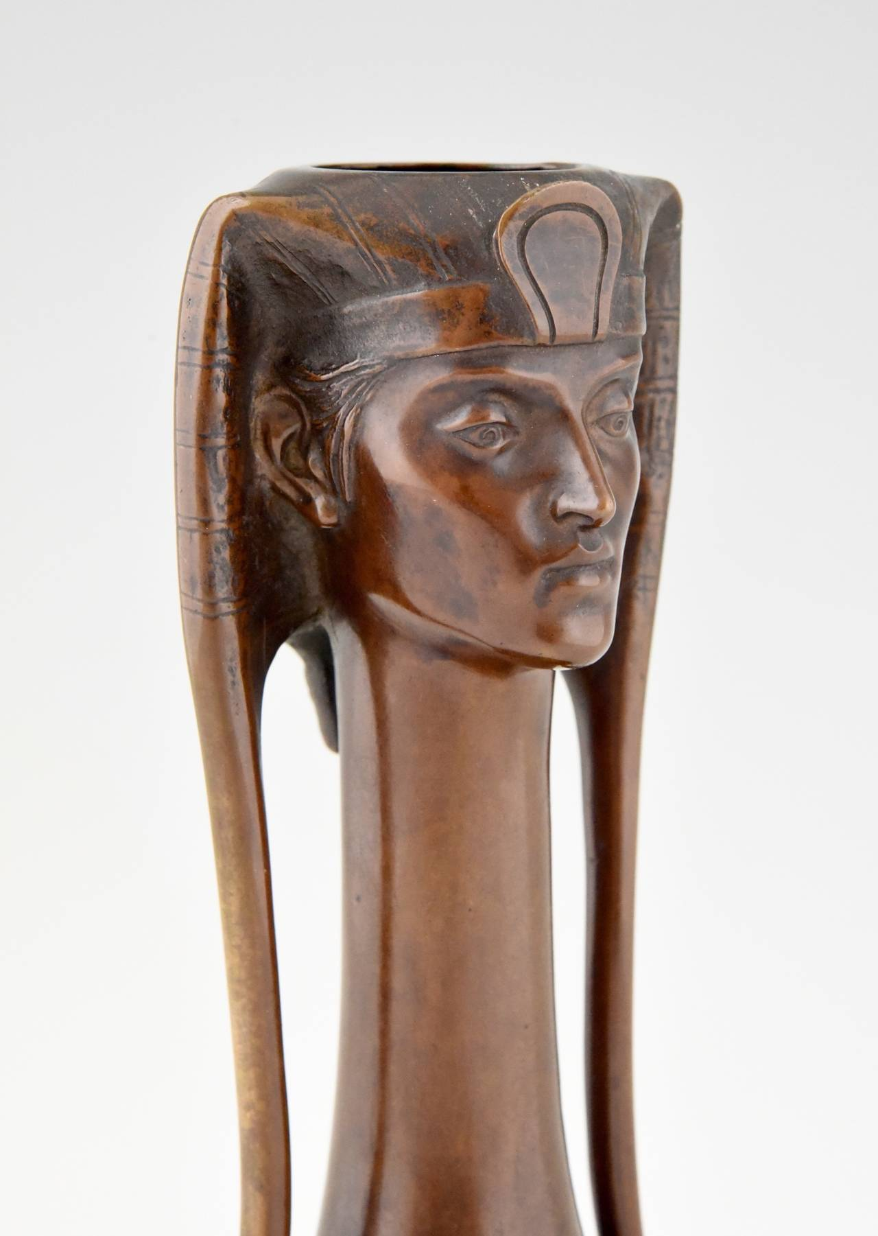 Art Nouveau Vienna bronze Egyptian vase with Pharaoh by A. Canciani 6