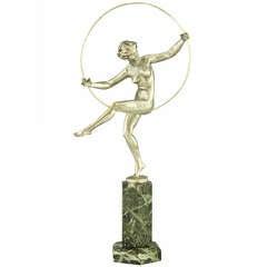 Art Deco Bronze Dancer with Hoop By Marcel Bouraine, France 1920.