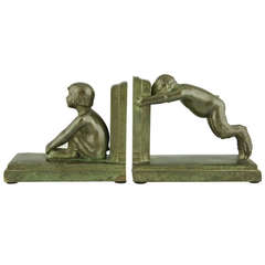 Art Deco bronze bookends with satyrs by Paul Silvestre, 1920.