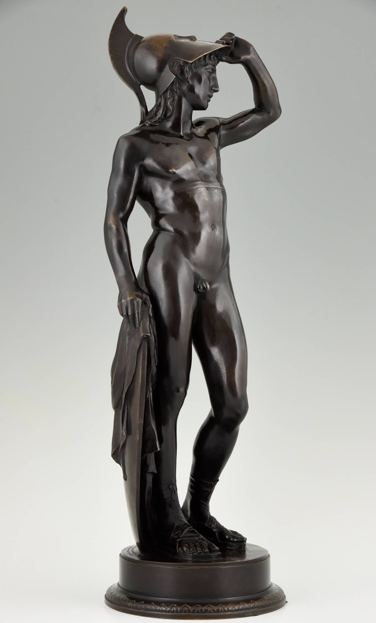 Patinated Antique Bronze Sculpture of a Male Nude by Alfred Raum, Rome, 1903 For Sale
