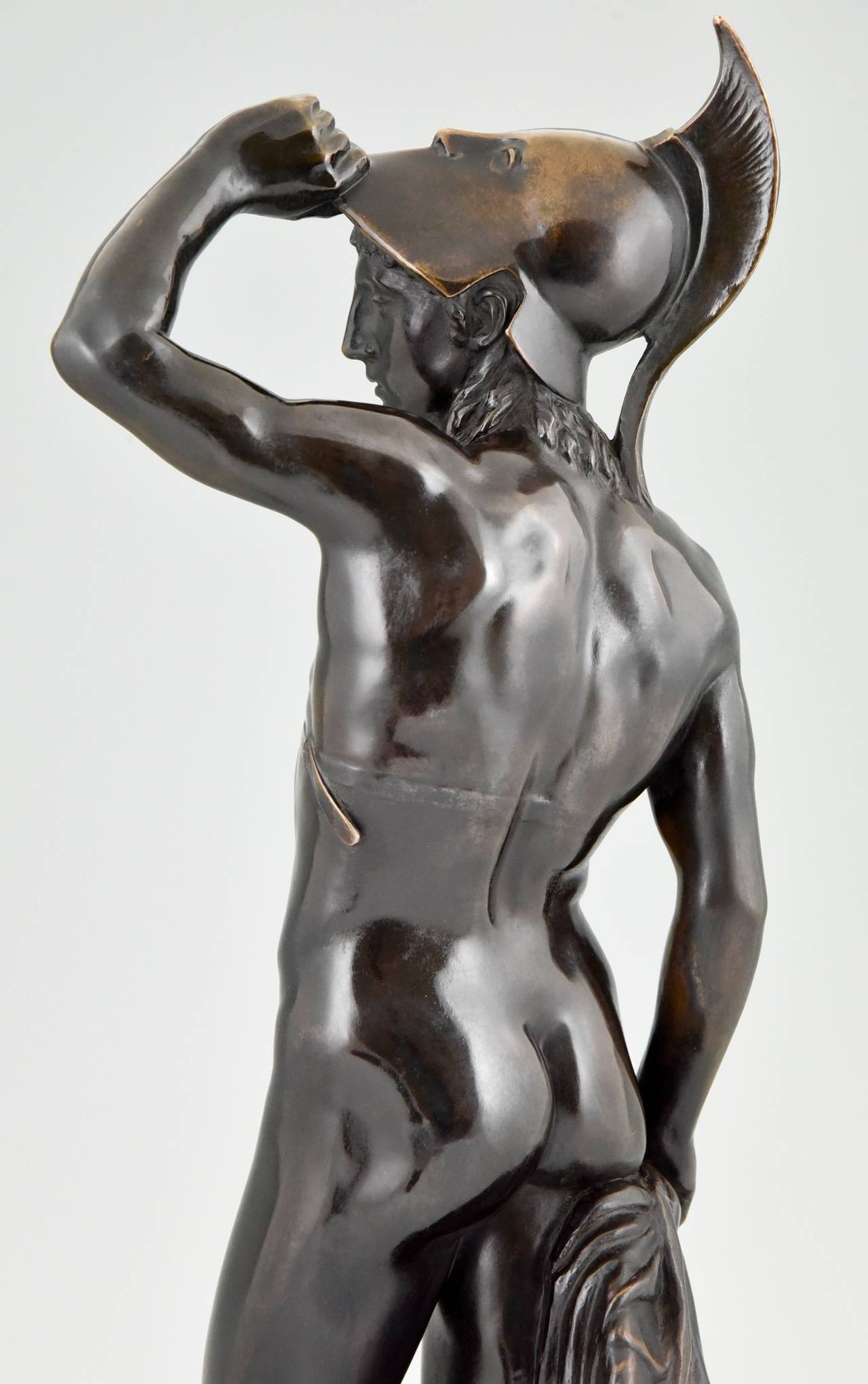 20th Century Antique Bronze Sculpture of a Male Nude by Alfred Raum, Rome, 1903 For Sale