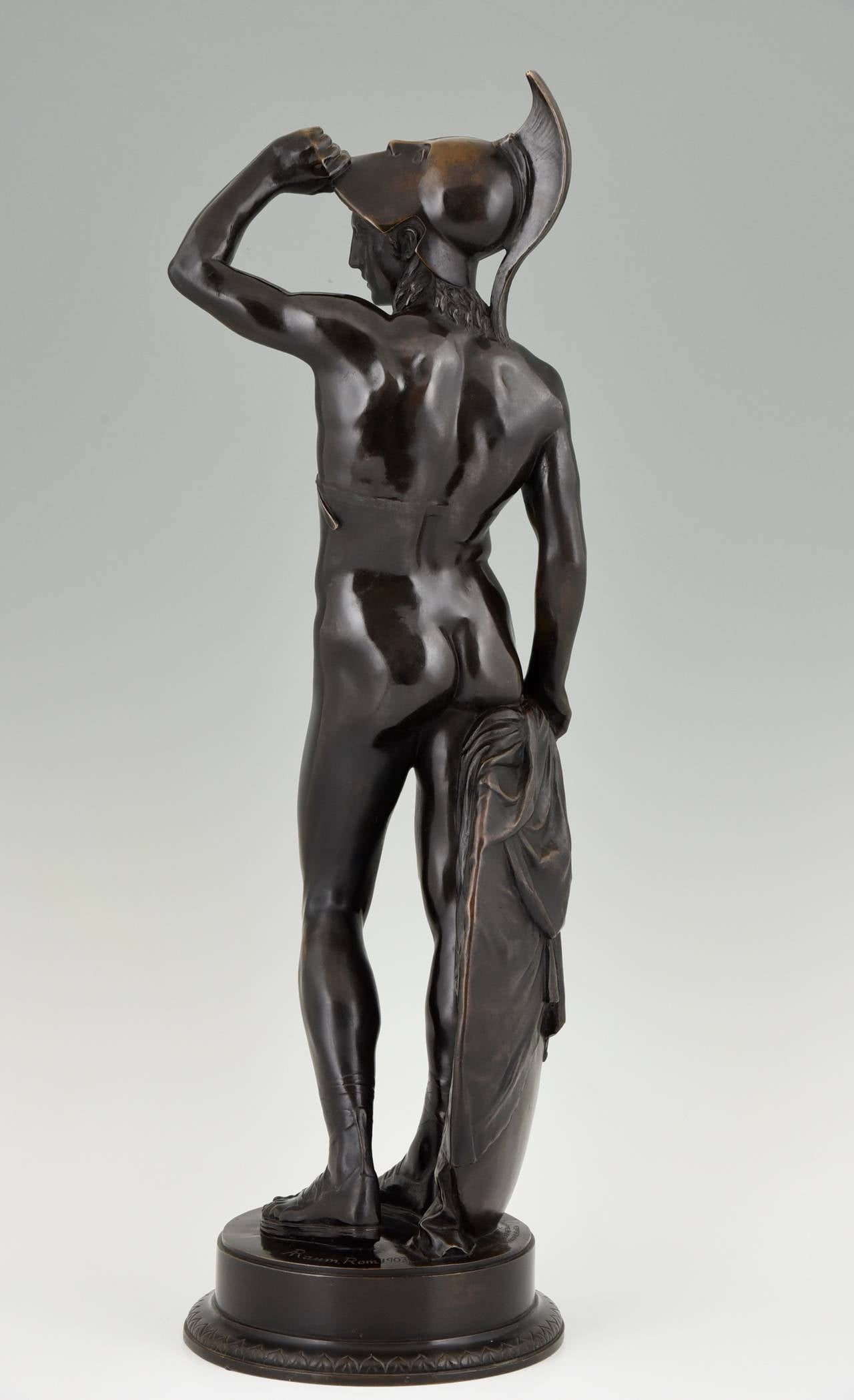 Neoclassical Antique Bronze Sculpture of a Male Nude by Alfred Raum, Rome, 1903 For Sale