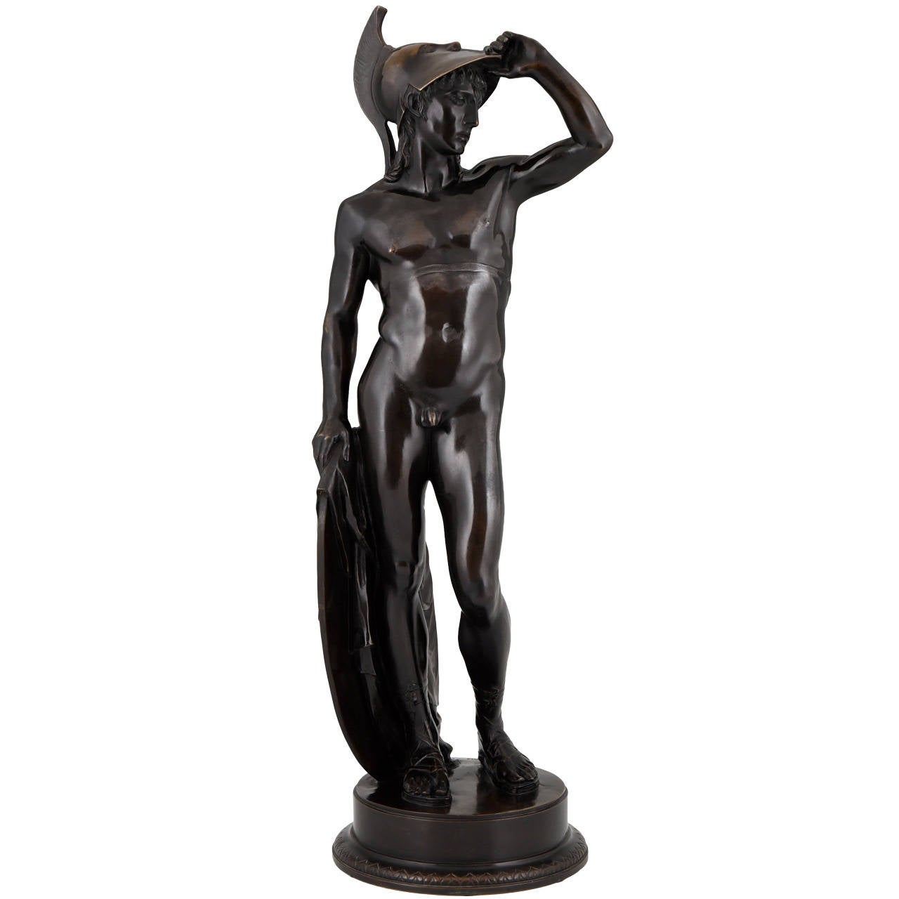 Antique Bronze Sculpture of a Male Nude by Alfred Raum, Rome, 1903 For Sale