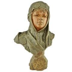 Art Nouveau Bronze Bust Dalila By Emmanuel Villanis 1890