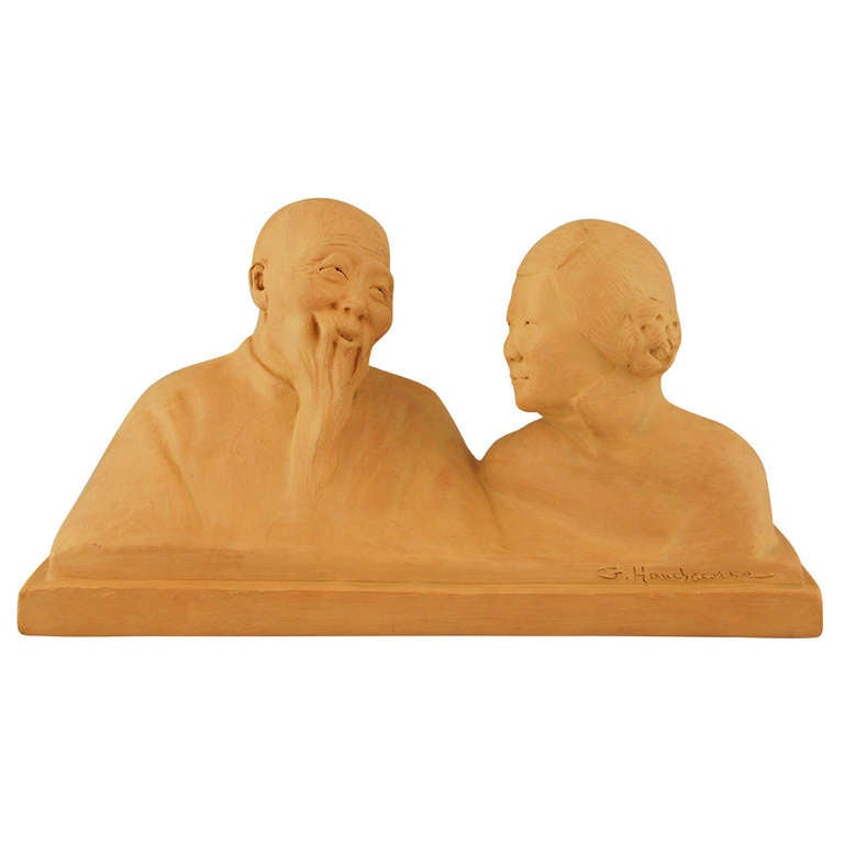Art deco sculpture of a Chinese couple by Gaston Hauchecorne, 1925.