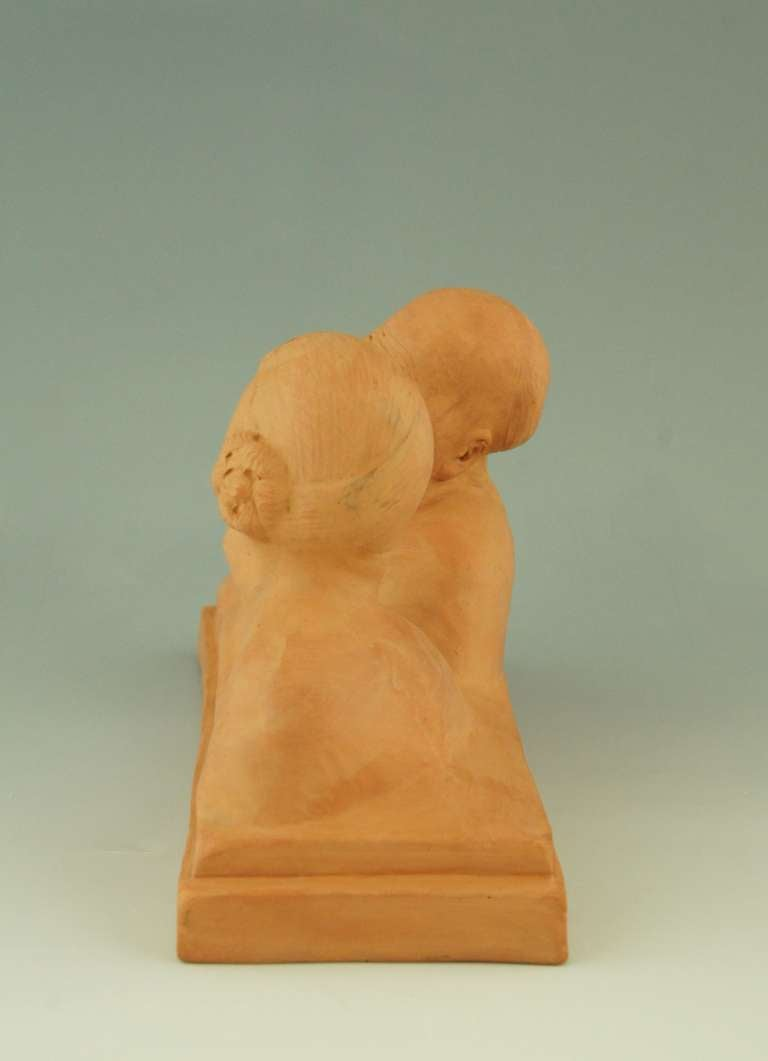 Art deco sculpture of a Chinese couple by Gaston Hauchecorne, 1925. In Good Condition In Antwerp, BE