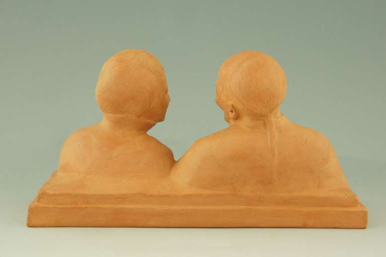 20th Century Art deco sculpture of a Chinese couple by Gaston Hauchecorne, 1925.