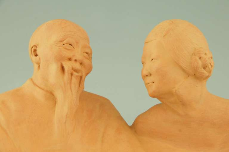 French Art deco sculpture of a Chinese couple by Gaston Hauchecorne, 1925.