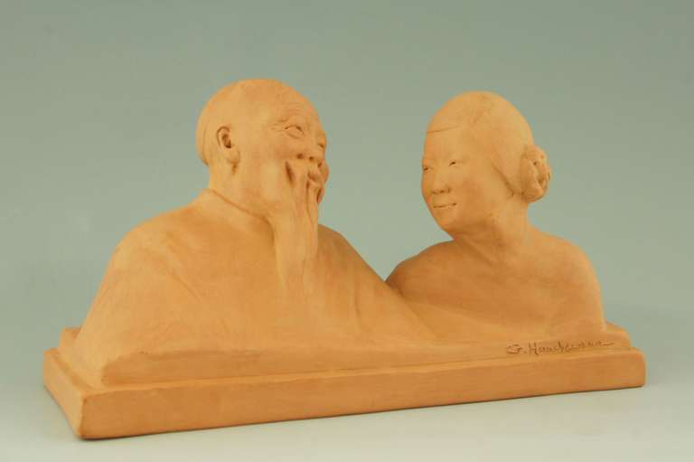 Art deco sculpture of a Chinese couple by Gaston Hauchecorne, 1925. 1