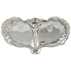 Art Nouveau Silvered Sweet and Fruit Dish with a Nymph, 1906