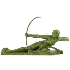 Art Deco bronze Penthesilia by Marcel Bouraine, Susse frères stamp.