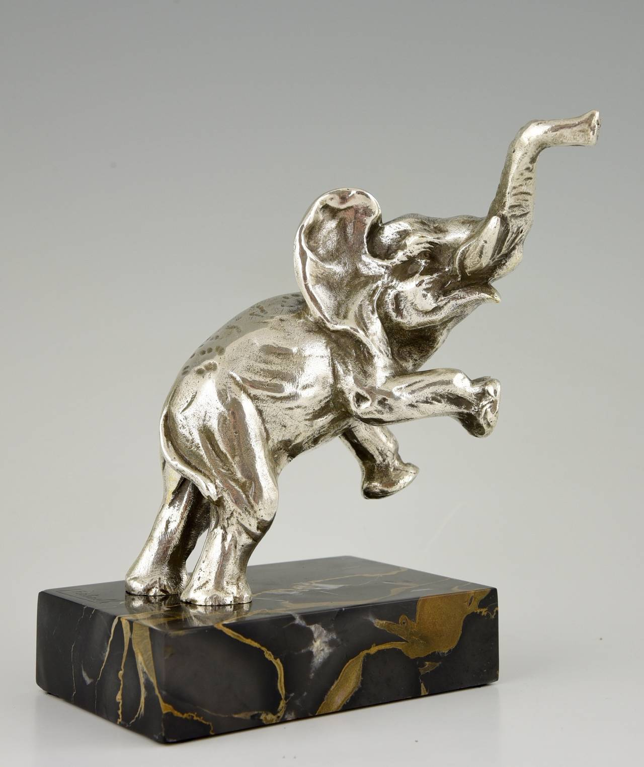 french art deco silvered bronze elephant bookends by. Black Bedroom Furniture Sets. Home Design Ideas