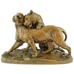 Impressive Antique Bronze Sculpture Of Two Lions By Carles Valton