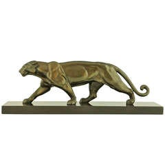 Art Deco Sculpture of a Walking Panther by Louis Albert Carvin