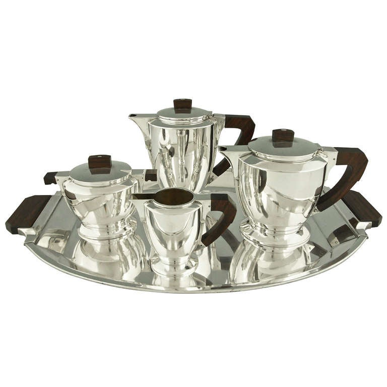 Silver plated Art Deco tea and coffee set by Gallia Christofle 1930. For  sc 1 st  1stDibs & Silver plated Art Deco tea and coffee set by Gallia Christofle ...