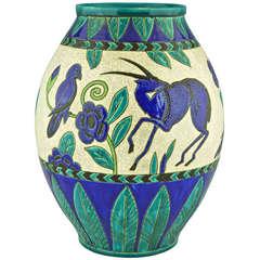 Charles Catteau Art Deco Keramis vase gazelles & birds, Decor Kioto, 1924.