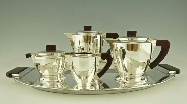 silver plated art deco tea and coffee set by gallia christofle 1930 at 1stdibs. Black Bedroom Furniture Sets. Home Design Ideas