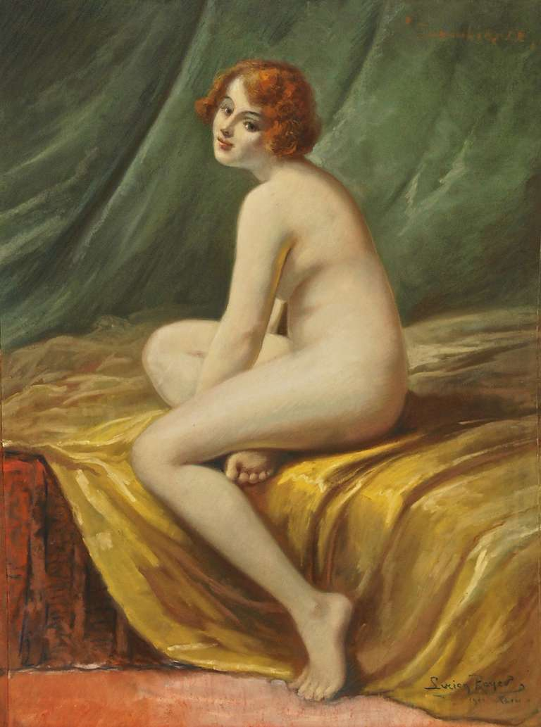 Nude in an interior signed by Lucien Royer. 
