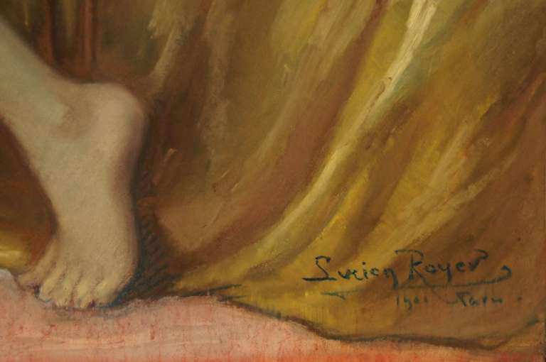 Art Nouveau Antique Pastel on Paper Nude in Interior by Lucien Royer Paris 1906 France For Sale