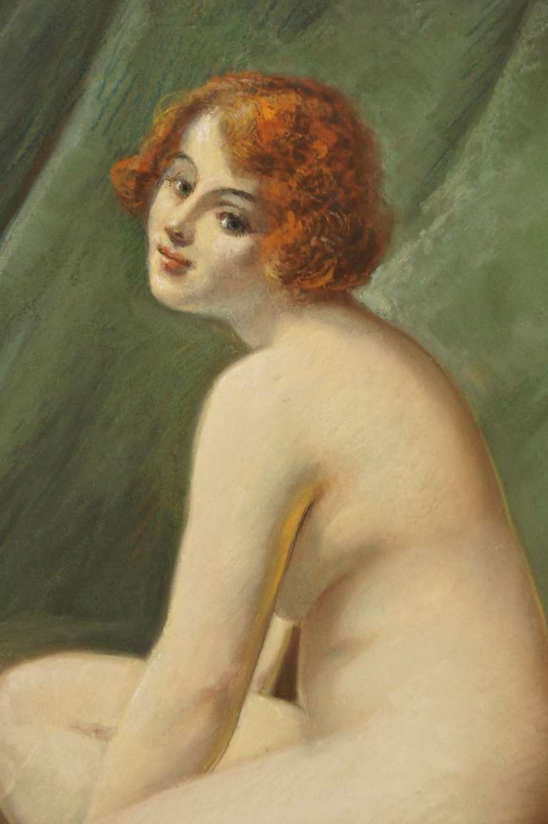 Antique Pastel on Paper Nude in Interior by Lucien Royer Paris 1906 France In Good Condition For Sale In Antwerp, BE